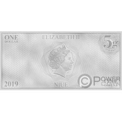 WILLIAM RIKER Звездные войны Next Generation Characters Банкнота Серебро 1$ Ниуэ 2019