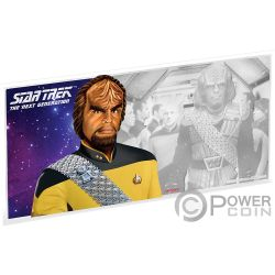 WORF Star Trek Next Generation Characters Foil Silver Note 1$ Niue 2019