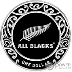 ALL BLACKS Rugby 1 Oz Moneta Argento 1$ New Zealand 2019