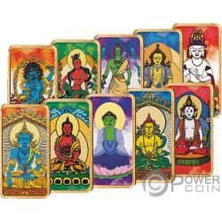 BUDDHISM Budismo Buddha Golden Light Set 10 Monedas Oro 5$ Fiji 2019