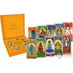 BUDDHISM Buddhismus Buddha Golden Light Set 10 Gold Münze 5$ Fiji 2019