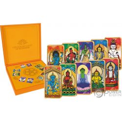 BUDDHISM Buddismo Buddha Golden Light Set 10 Monete Argento 5$ Fiji 2019
