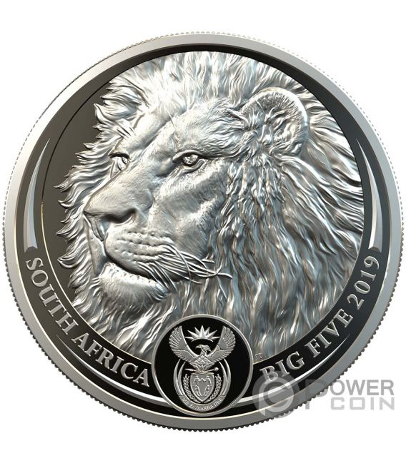 LION Leone Big Five 1 Oz Moneta Platino 20 Rand South Africa 2019