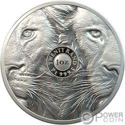 LION Leon Big Five 1 Oz Moneda Platino 20 Rand South Africa 2019