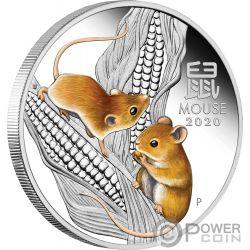 MOUSE Lunar Coloured Year Series III 1 Oz Silver Coin 1$ Australia 2020