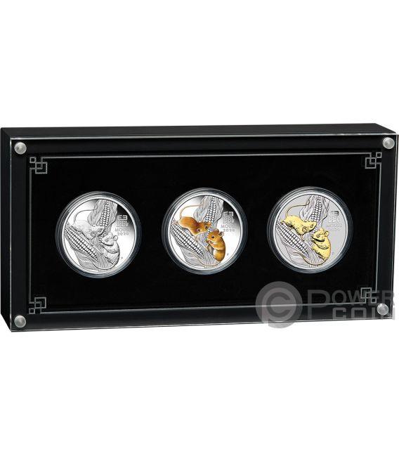 MOUSE Topo Lunar Year Series III Set 3x1 Oz Moneta Argento 1$ Australia 2020