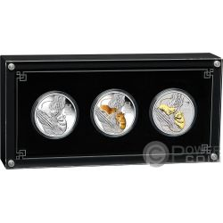 MOUSE Крыса Coloured Lunar Year Series III Set 3x1 Oz Монета Серебро 1$ Австралия 2020