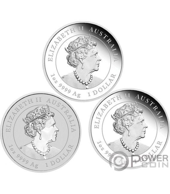 MOUSE Lunar Year Series III Set 3x1 Oz Silver Coin 1$ Australia 2020