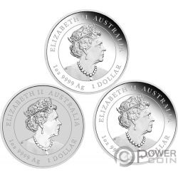 MOUSE Rata Lunar Year Series III Set 3x1 Oz Moneda Plata 1$ Australia 2020