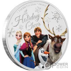 SEASONS GREETINGS Frozen Disney 1/2 Oz Moneta Argento 1$ Niue 2019