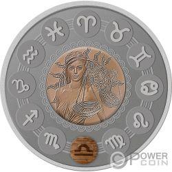 LIBRA Bilancia Zodiac Signs 1 Oz Moneta Argento 1$ Niue 2019