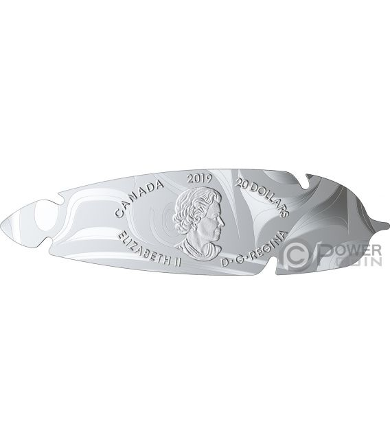 EAGLE FEATHER Shaped 1 Oz Silver Coin 20$ Canada 2019