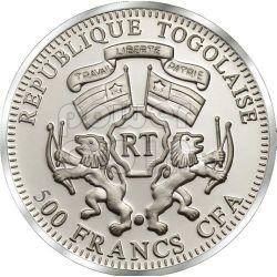 ZENOBIA Palmyra Queen Greatest She-Warriors Серебро Монета 500 Франков Того 2011
