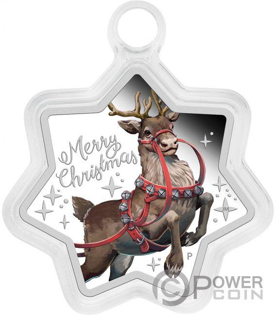 CHRISTMAS Reindeer 1 Oz Silver Coin 1$ Tuvalu 2019