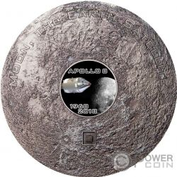 APOLLO 8 Luna Meteorites 3 Oz Moneta Argento 20$ Cook Islands 2018