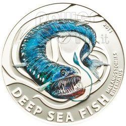 MELANOSTOMIAS BISERIATUS Deep Sea Fish Silver Coin 2$ Pitcairn Islands 2011
