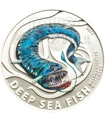 MELANOSTOMIAS BISERIATUS Pesce Degli Abissi Moneta Argento 2$ Pitcairn Islands 2011