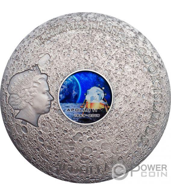 APOLLO 11 Moon Meteorites 3 Oz Silver Coin 20$ Cook Islands 2019