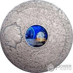APOLLO 11 Luna Meteorites 3 Oz Moneta Argento 20$ Cook Islands 2019