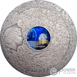 APOLLO 11 Moon Meteorites 3 Oz Silver Coin 20$ Cook Islands 2019