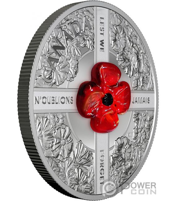 LEST WE FORGET Murano Poppy 1 Oz Silver Coin 20$ Canada 2019