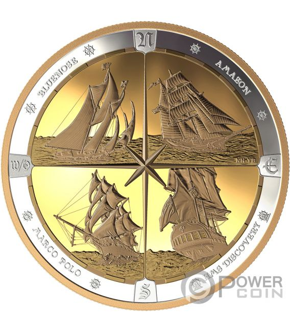 TALL SHIPS Compass Gold Plating 16 Oz Silver Coin 125$ Canada 2019