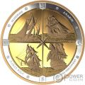 TALL SHIPS Navi Compasso Placcatura Oro 16 Oz Moneta Argento 125$ Canada 2019