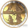 TALL SHIPS Schiffe Kompass 16 Oz Silber Münze 125$ Canada 2019
