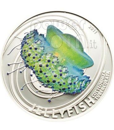 MEDUSA Jellyfish Cassiopea Mediterranea Moneta Argento 2$ Pitcairn Islands 2011
