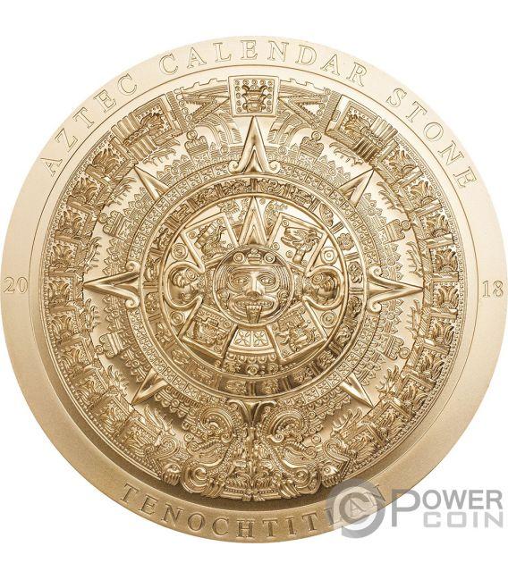 AZTEC CALENDAR Gilded Archeology Symbolism 3 Oz Silver Coin 20$ Cook Islands 2018
