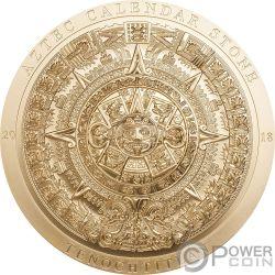 AZTEC CALENDAR Позолоченный Календарь Archeology Symbolism 3 Oz Монета Серебро 20$ Острова Кука 2018