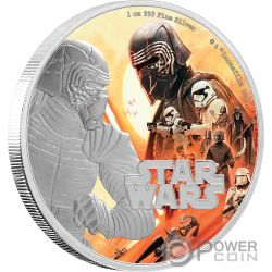 KYLO REN First Order Rise of Skywalker Star Wars 1 Oz Moneda Plata 2$ Niue 2019