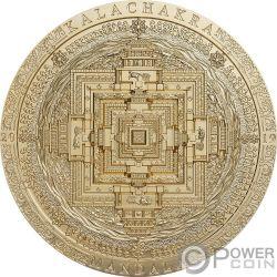 KALACHAKRA MANDALA Vergoldet Archeology Symbolism 3 Oz Silber Münze 2000 Togrog Mongolia 2019