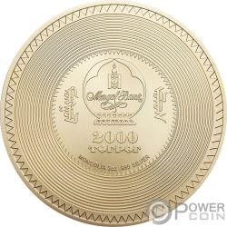 KALACHAKRA MANDALA Позолота Archeology Symbolism 3 Oz Монета Серебро 2000 Тугрик Монголия 2019