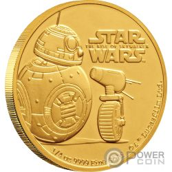 BB8 DO Rise of Skywalker Star Wars 1/4 Oz Moneta Oro 25$ Niue 2019
