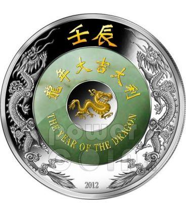 DRAGONE Giada Dragon Lunar Year Moneta Argento 2 Oz 2000 Kip Laos 2012