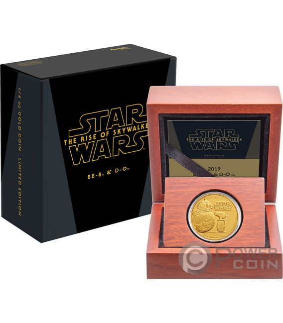 BB8 DO Rise of Skywalker Star Wars 1/4 Oz Gold Coin 25$ Niue 2019