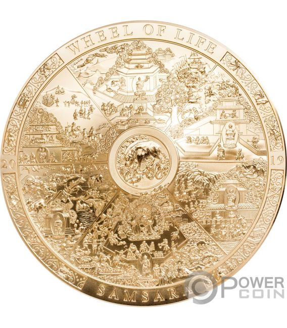 SAMSARA WHEEL LIFE Gilded Archeology Symbolism 3 Oz Silver Coin 20$ Cook Islands 2019