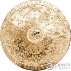 SAMSARA WHEEL LIFE Dorada Calendario Archeology Symbolism 3 Oz Moneda Plata 20$ Cook Islands 2019