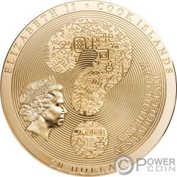 SAMSARA WHEEL LIFE Позолота  Calendario Archeology Symbolism 3 Oz Монета Серебро 20$ Острова Кука 2019