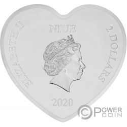 LOVE Форма Сердца Белоснежка Disney 1 Oz Монета Серебро 2$ Ниуэ 2020