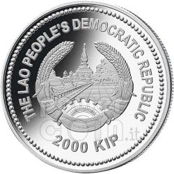 DRAGON Jade Lunar Year 2 Oz Moneda Plata 2000 Kip Laos 2012