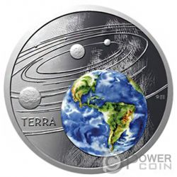 EARTH Tierra Solar System 1 Oz Moneda Plata 1$ Niue 2019