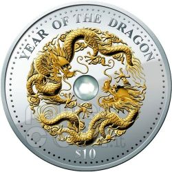 DRAGONE Perla Dragon Lunar Year Moneta Argento 1 Oz 10$ Fiji 2012