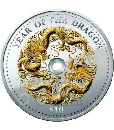 DRAGON Pearl Lunar Year 1 Oz Silver Coin 10$ Fiji 2012