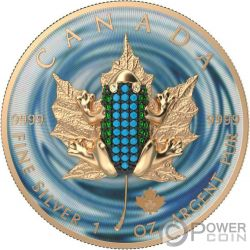 BEJEWELED FROG Rana Foglia Acero Maple Leaf 1 Oz Moneta Argento 5$ Canada 2019