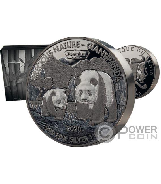 GIANT PANDA Precious Nature Palladium Rhodium 1 Kg Silver Coin 10000 Francs Benin 2020