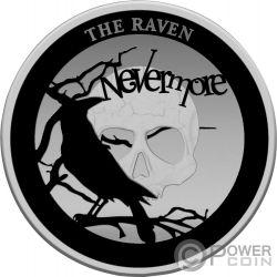RAVEN Corvo Spooky Stories 175th Anniversary Edgar Allan Poe 2 Oz Moneta Argento 5$ Niue 2020