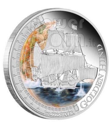 GOLDEN HIND Nave Ship Moneta Argento 1$ Tuvalu 2011