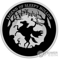 HEADLESS HORSEMAN Caballero Sin Cabeza Spooky Stories 200th Anniversary 2 Oz Moneda Plata 5$ Niue 2020